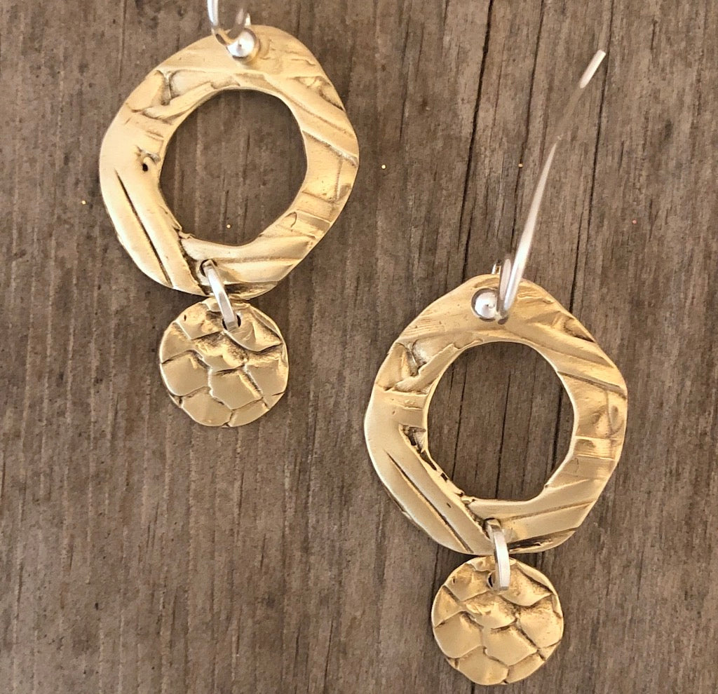 Circle Earrings: Spring Grass & Snakeskin Textures