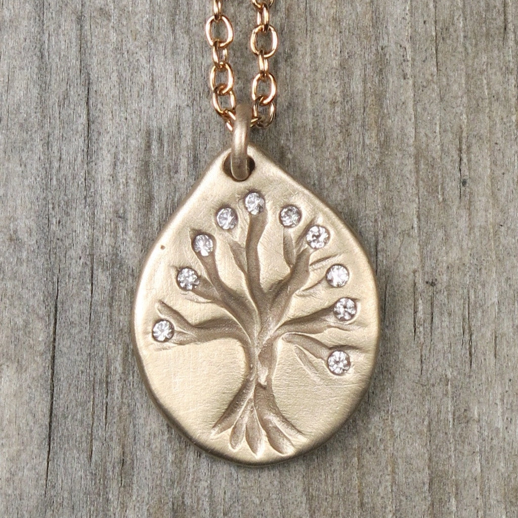 Tree of Life: Bronze, Small with White Sapphires