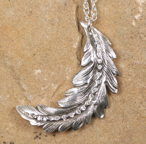 Stylized Feather: White Sapphires