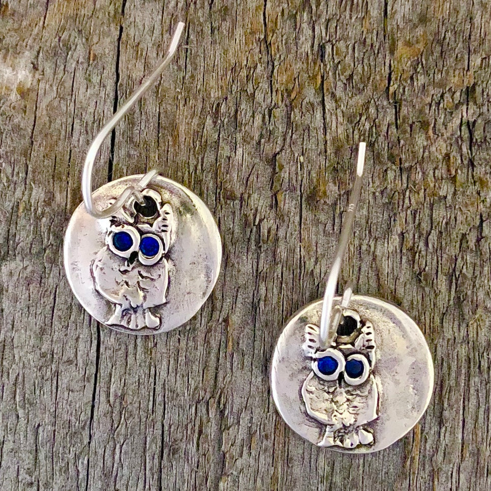 Folk Art Owl Earrings: Sapphires