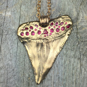 Great White Shark Tooth: Bronze & Rubies, Sapphires