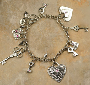 Charm Bracelet: Hearts and Keys