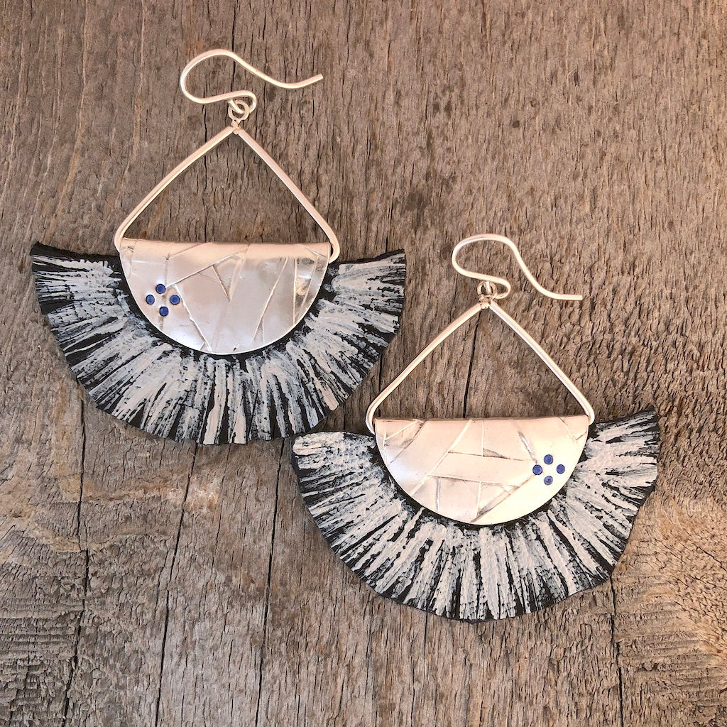 Silver and leather fan earrings