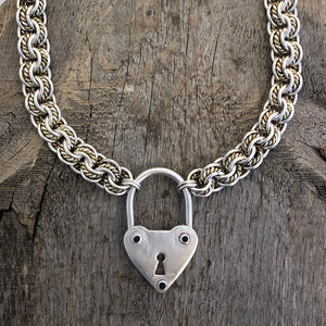 Heart with Sapphires on Handmade Chain