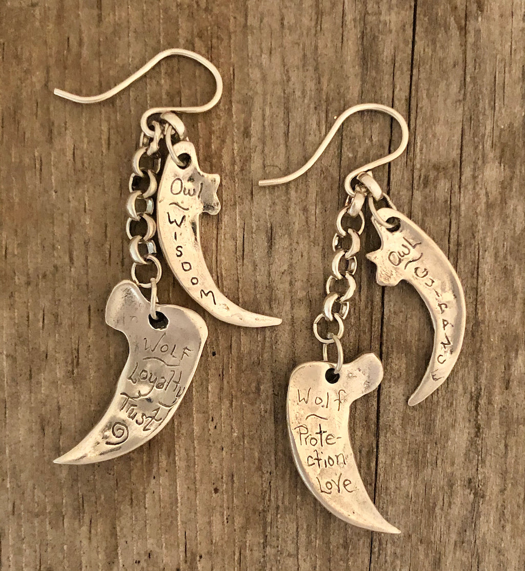 Talon & claw gemstone earrings