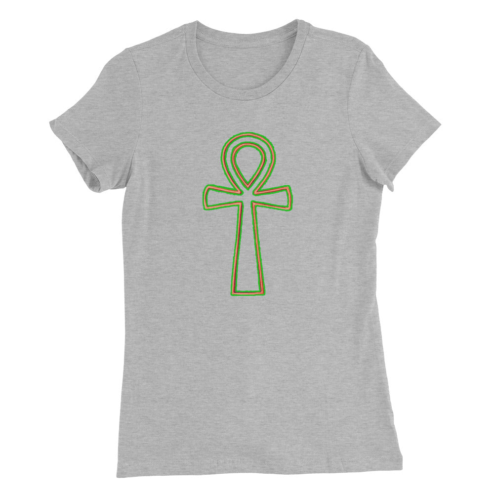 Ankh Ladies T Shirt - Orange, Pink or Gold and Green