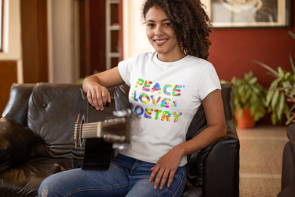 Peace Love and Poetry Ladies T Shirt - Multi