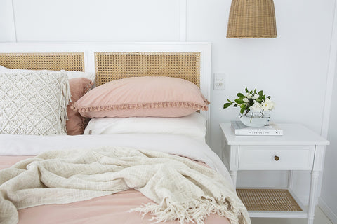 Timber & Cane Bedhead in White
