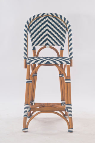 French Bistro Stool - Walnut - Chevron in Navy
