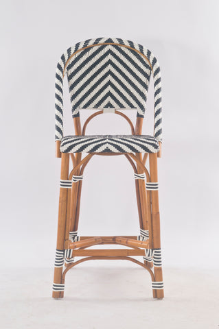 French Bistro Stool - Walnut - Chevron in Black