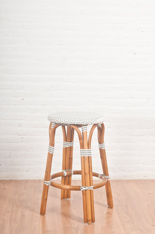 French Bistro Backless Stool - Walnut - Polka Dot in Grey