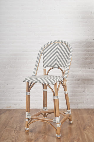 French Bistro Stool - Chevron in Grey