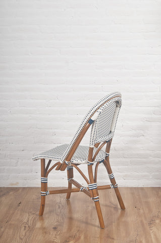 French Bistro Chair - Walnut - Polka Dot in Navy