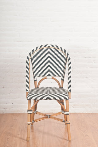 French Bistro Chair - Natural - Chevron in Black