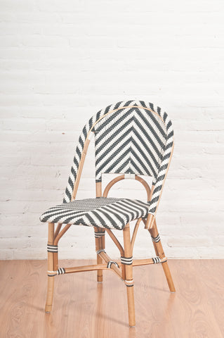 French Bistro Chair - Walnut - Chevron in Black