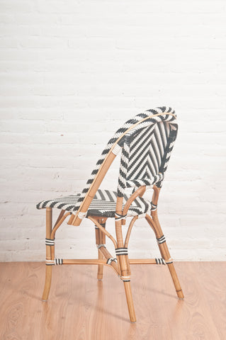 French Bistro Chair - Natural - Chevron in Navy