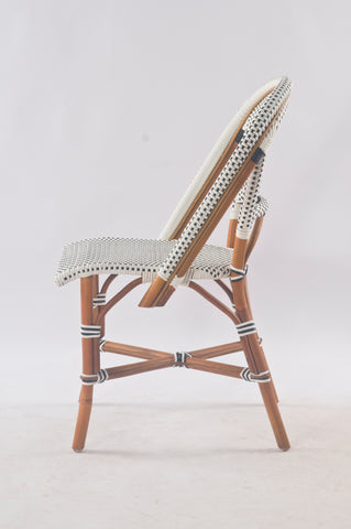 French Bistro Chair - Walnut - Polka Dot in Black