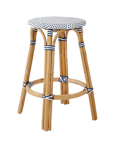 French Bistro Backless Stool - Natural - Polka Dot in Navy