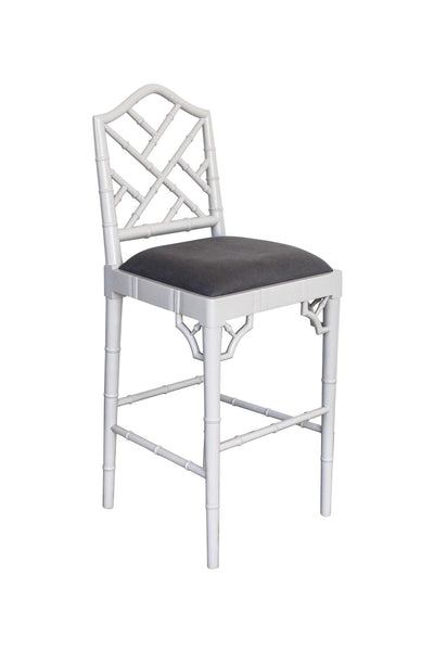 Chippendale Stool in Soft Grey