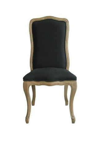 French Dining Chair - Black Linen