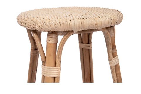 French Bistro Backless Stool - Natural Rattan