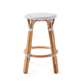 French Bistro Backless Stool - Natural - Polka Dot in Grey