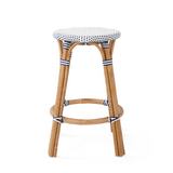 French Bistro Backless Stool- Polka Dot in Navy