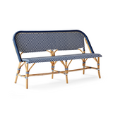 Bistro style bench in Navy & White