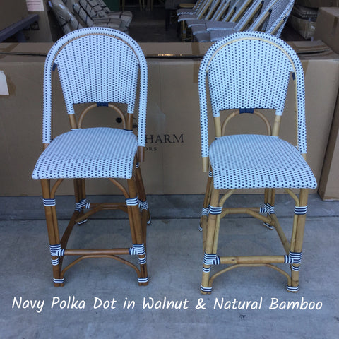 French Bistro Stool - Walnut - Polka Dot in Navy