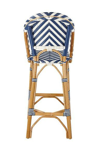 French Bistro Stool - Natural - Chevron in Navy
