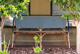 Bistro Bench in Navy & White outdoors