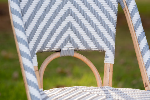 French Bistro Chair - Natural - Chevron in Grey