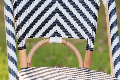 French Bistro Stool - Natural - Chevron in Black