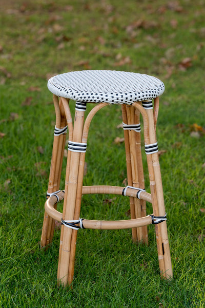 French Bistro Backless Stool - Natural - Polka Dot in Black