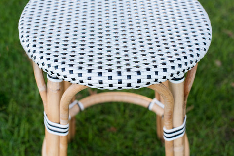 French Bistro Backless Stool - Walnut - Polka Dot in Black
