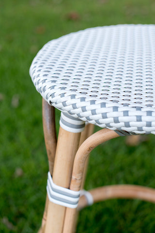 Close up of polka dot stool in grey and white