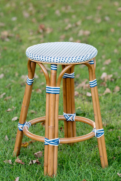 French Bistro Backless Stool - Walnut - Polka Dot in Navy