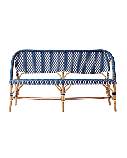 Riviera Bench in Navy & White