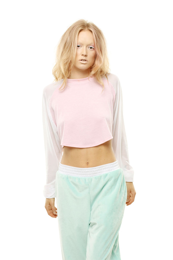 Pastel Long Sleeve Crop Top - Pale Pink