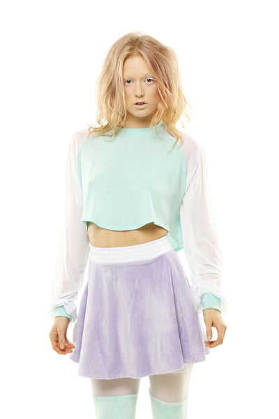 Pastel Long Sleeve Crop Top - Mint