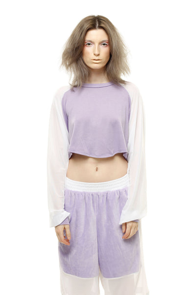 Pastel Long Sleeve Crop Top - Lavender