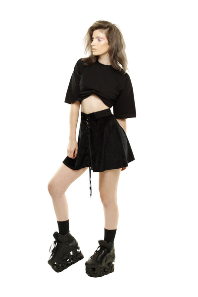 Fur Dreams Lace-Up Skirt - Black