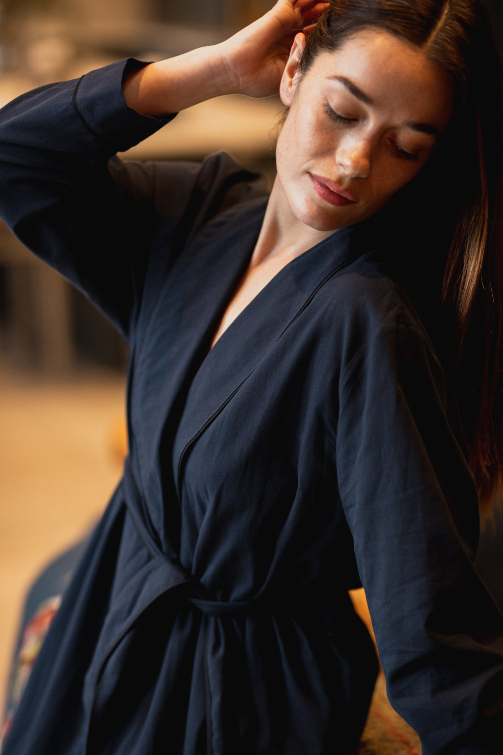 Organic Cotton Robe Navy