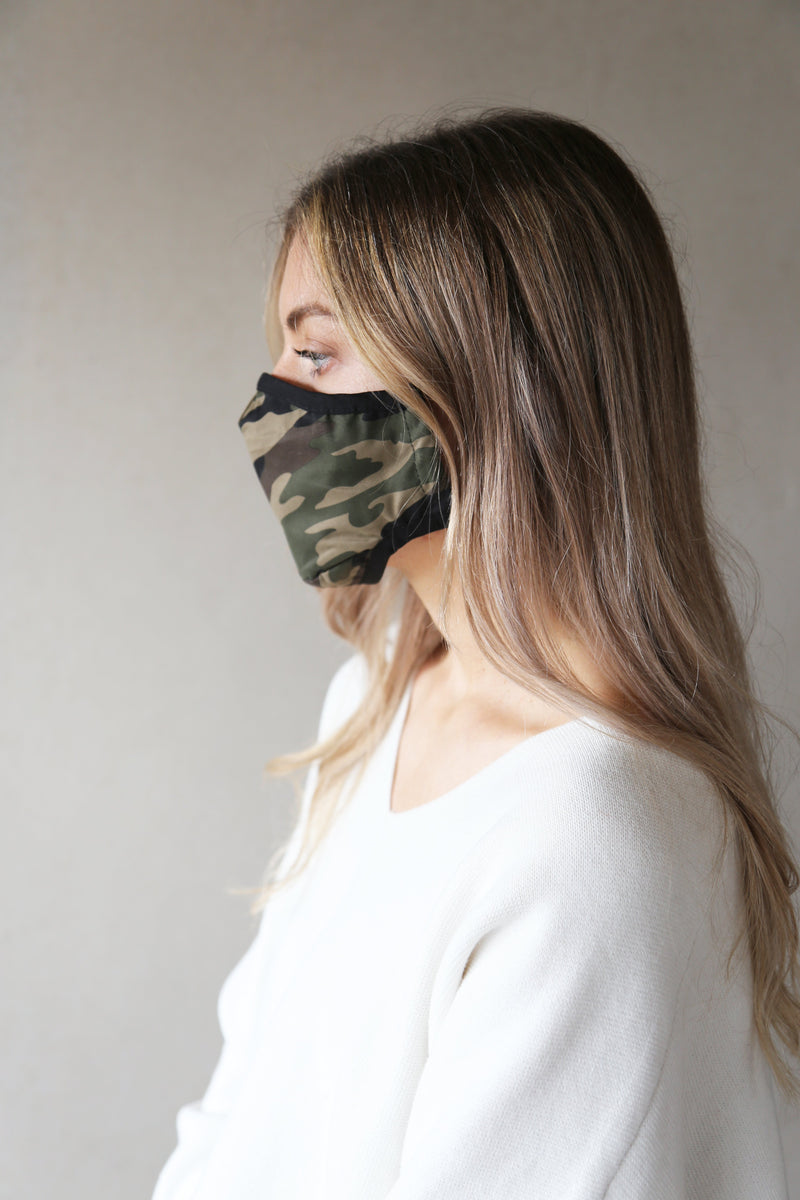 Womens Organic Cotton Face Covering CAMO Green