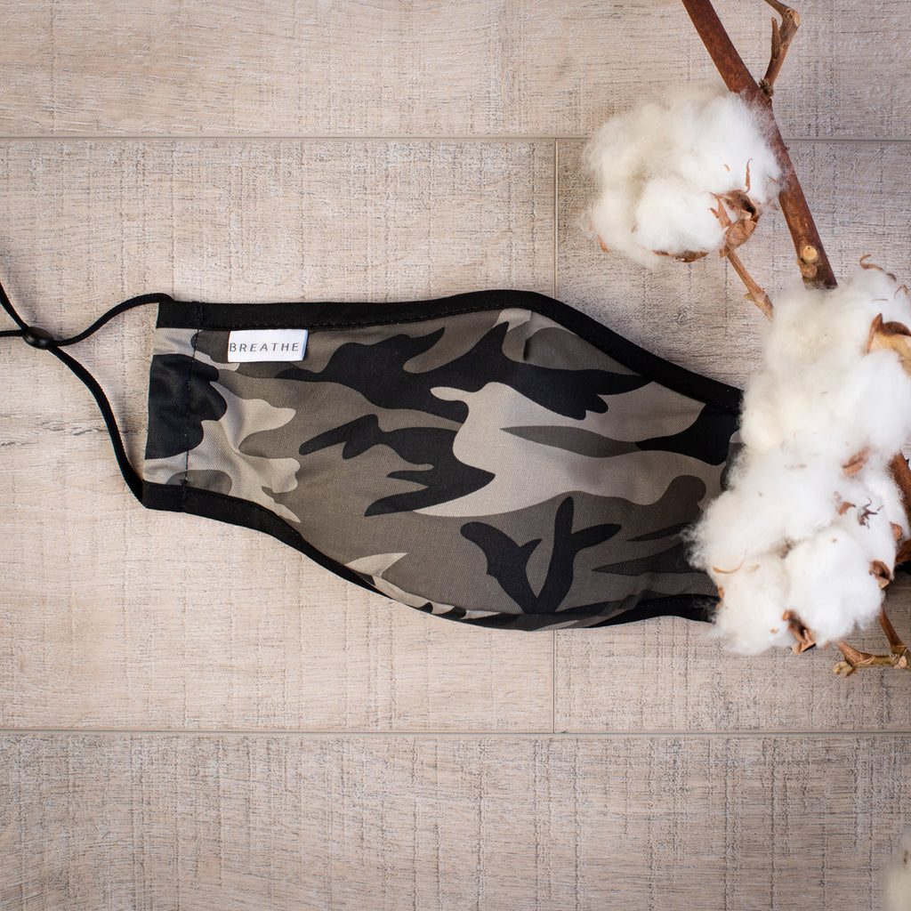 Womens Organic Cotton Face Covering CAMO Grey