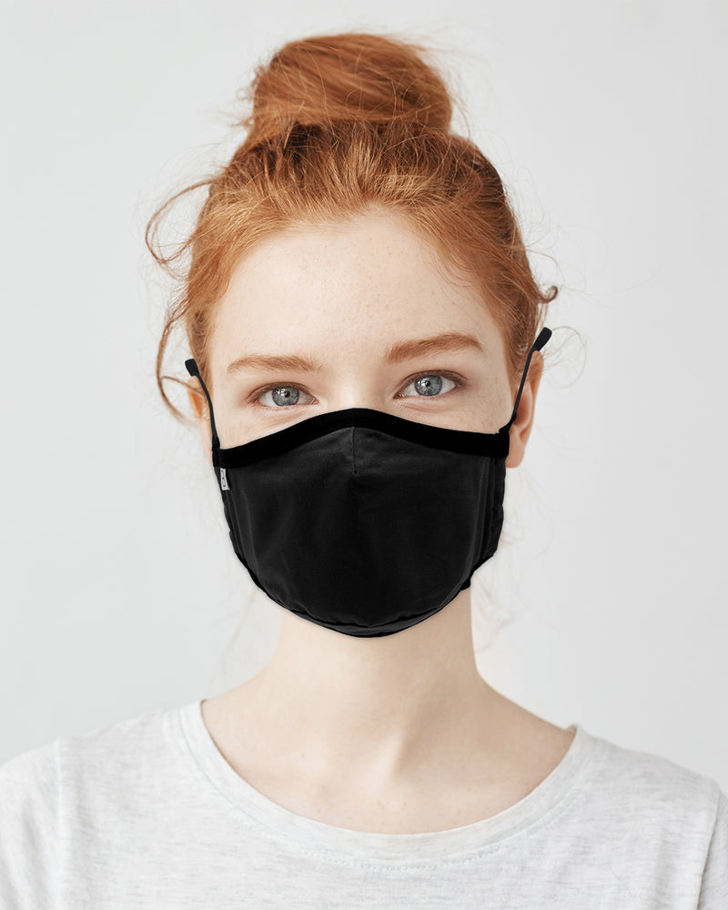 Teen Organic Cotton Face Covering Black
