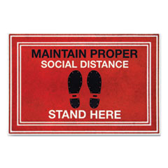 "Message Floor Mats, ""Maintain Social Distance Stand Here"""