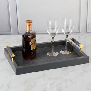 Rectangular PU Leather Tray with Handle