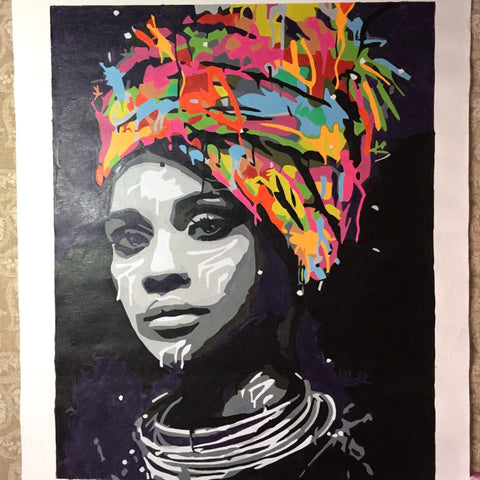 Woman with Turban Completed Painting