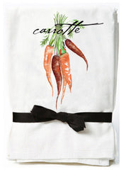 a tea towel with a french carrot design, very beautiful tea towel